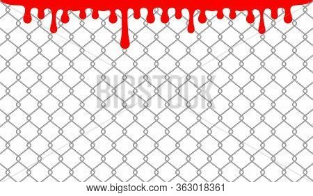 Wire Net Wall And Red Blood Drops On White, Blood Blob On Wire Wall For Halloween Background, Drops