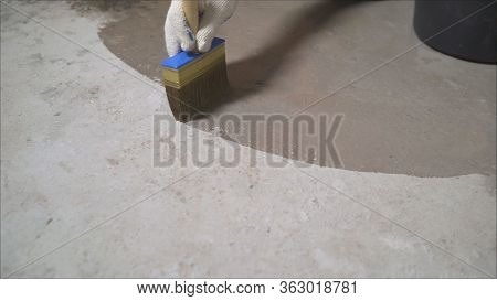 Epoxy Floor In Warehouse Factory Japan Construction Site , Polishing Stone Concrete. Processing The