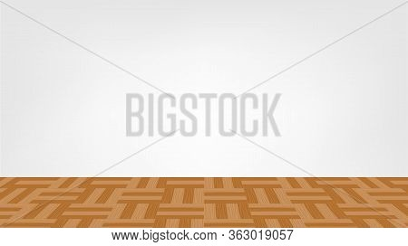 Empty Room And Parquet Wood Flooring For Background, Modern Room Interior Decoration With Parquet Wo