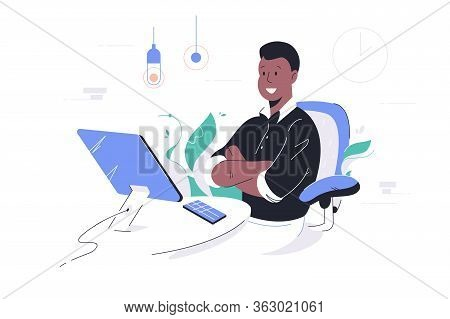 Happy African American Businessman Crossing Hands Using Computer And Smartphone. Concept Black Man C