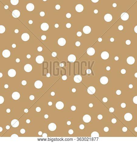 Dotted Seamless Pattern. White Polka Dot On Beige Background Background. Vector Illustration. Monoch