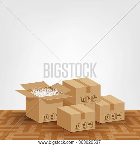 Pile Boxes Brown Placed On The Parquet Floor In The Room Empty, Cardboard Carton Box And Copy Space