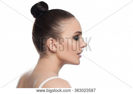 Beautiful Woman Face Profile. Pretty Model Girl Isolated On White Background