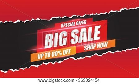 Big Sale Banner Speed Light Layout On Red Background With Discount Percents Off. Template Design For
