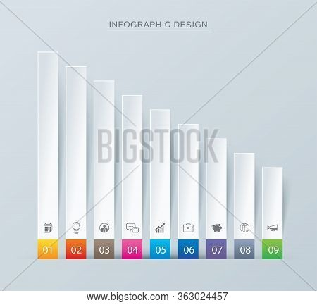 9 Graph Data Infographics Tab Paper Index Template. Vector Illustration Abstract Background. Can Be