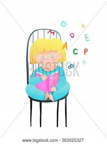 Little Girl Reading Abc Book, Sitting On Chair, Wearing Pajamas. Funny Cute Child Study To Read Book
