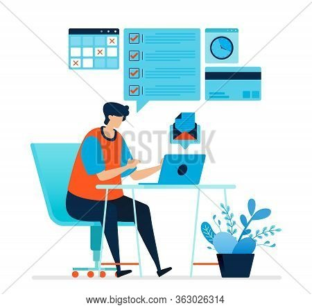 Vector Illustration Of Man Working At Home. Work From A Work Desk At Home. Complete Tasks, Answer Em