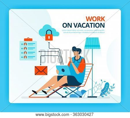 Vector Illustration For Work At Vacation And Overtime Job. Human Vector Cartoon Characters. Design F