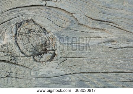 Particle Of Whitewashed Pine Wall Of House With Knot And Cracked Closeup. Texture, Background