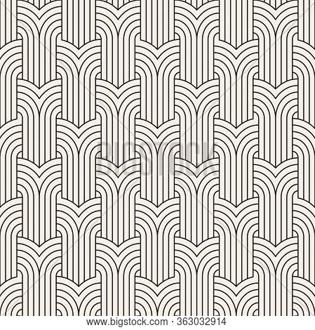 Vector Seamless Art Deco Pattern. Repeating Abstract Background. Black And White Geometric Design. M