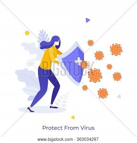 Woman Wearing Medical Mask Holding Shield And Protecting Himself Against Virus. Concept Of Personal