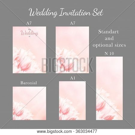 Wedding Invitation Card, Save The Date, Rsvp, Pink Tulips, Standart Size A6. Greeting Or Invite Card