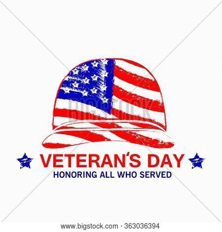Simple Soldier's Helmet America Flag Illustration Of American Veterans Day, 11th November  Vector