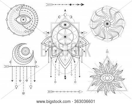 Vector Set Of Sacred Geometric And Natural Symbols On White Background. Abstract Mystic Signs Collec