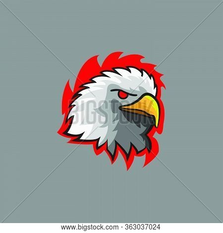 Head Eagle Violent Logo E Sport. Eagle Vector Illustration With Modern Color American Eagle.fierce F
