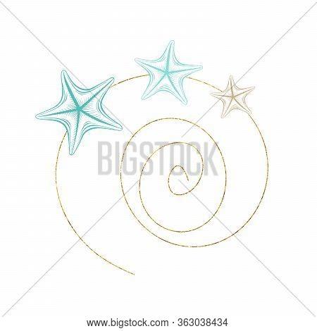 Marine Art Wreath, Seastar And Ocean Seashell Spiral Line, Vector Gold Geometric Frame. Turquoise Un