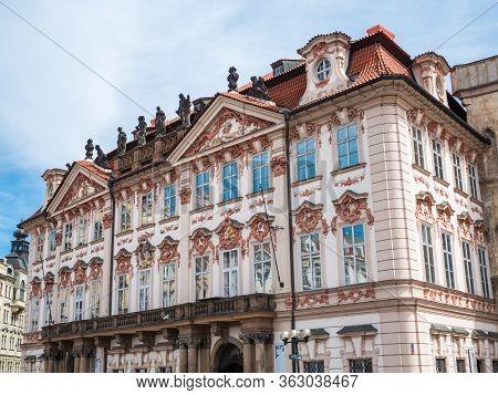 Prague, Czech Republic - June 9 2019: Goltz-kinsky Palace Or Palac Goltz-kinskych On Old Town Square