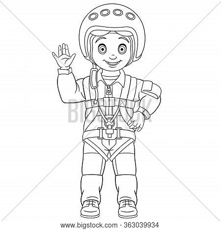 Coloring Page. Coloring Book Picture Of Cartoon Pilot, Skydiver Or Cosmonaut.