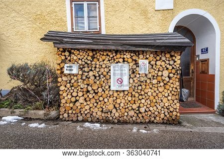 Feb 6, 2020 - Hallstatt, Austria: Woodpiles With Post Of Keeping Quiet And No Drone Zone In Hallstat