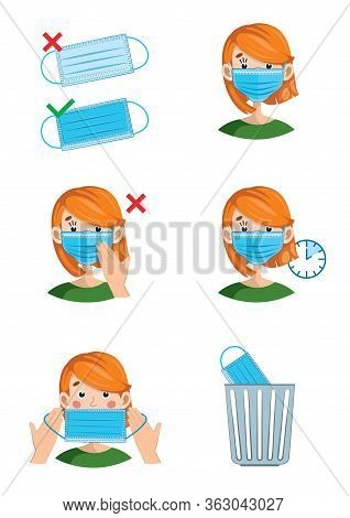 Instructions On How To Properly Put On, Wear And Remove The Mask. Girl In A Mask On A White Backgrou