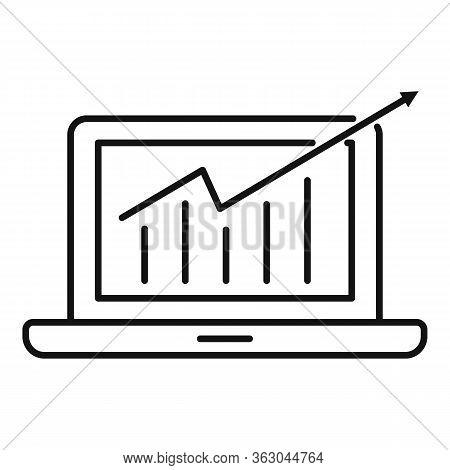 Laptop Millionaire Chart Icon. Outline Laptop Millionaire Chart Vector Icon For Web Design Isolated