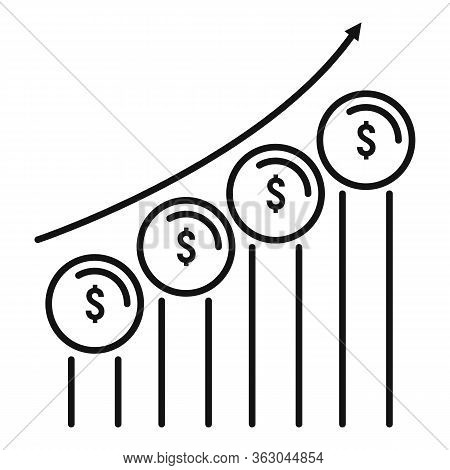 Coin Grow Chart Icon. Outline Coin Grow Chart Vector Icon For Web Design Isolated On White Backgroun