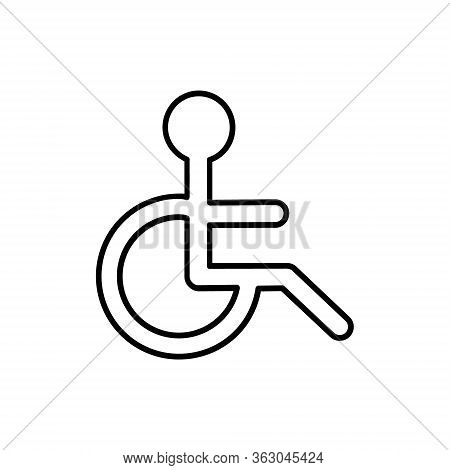 Disabled Handicap Icon, Wheelchair Parking Sign Vector Illustration Isolated On White Background