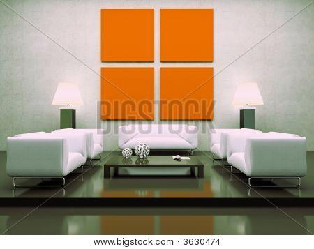 Modern Interior With White Sofas