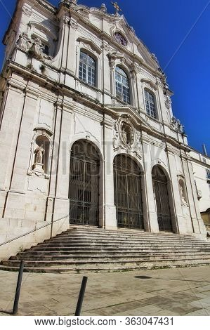 Beautiful Nossa Senhora Das Merces Church Facade In Lisbon