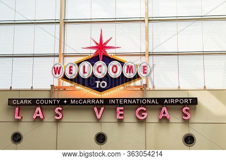 Welcome To Las Vegas Signage At Mccarran International Airport, Las Vegas Nevada Usa, March 30, 2020