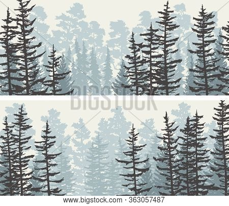 Set Of Banners View From Coniferous Forest With Trunks Of Fir Trees And Treetops (blue Tone).