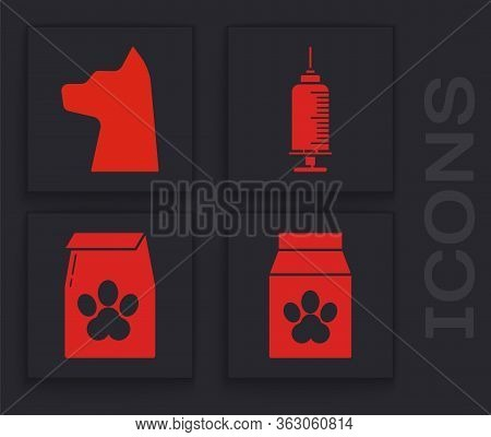 Set Bag Of Food For Pet, Cat, Syringe With Pet Vaccine And Bag Of Food For Pet Icon. Vector