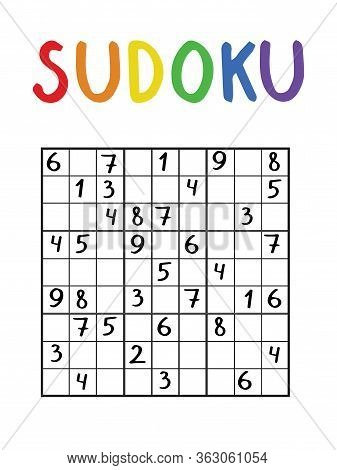 Classical Sudoku Nine By Nine For Kids And Adults. Logical Number Game. Black And White Puzzle With