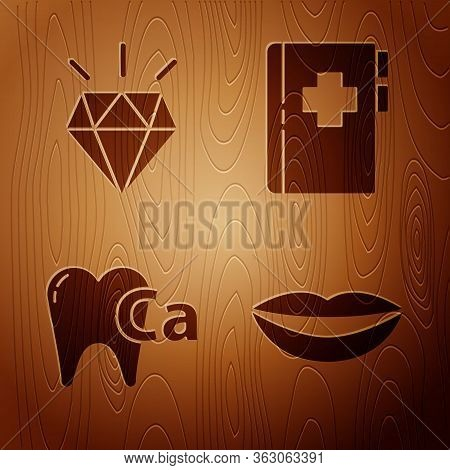 Set Smiling Lips, Diamond Teeth, Calcium For Tooth And Clipboard With Dental Card On Wooden Backgrou