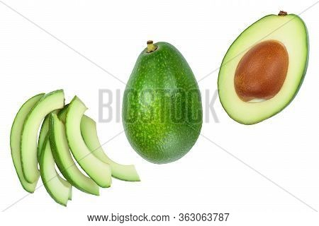 Avocado And Slices Isolated On White Background. Top View. Flat Lay