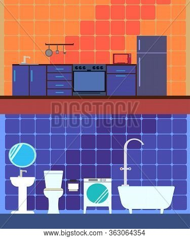 Modern Interior Of The Bathroom With Furniture . Modern Bathroom Design, In Pink And Blue Background