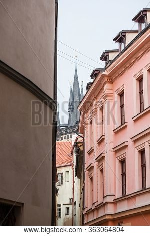 Narrow Street With Medieval Buildings And Cobblestones In The Old Town Of Prague, Also Called Stare
