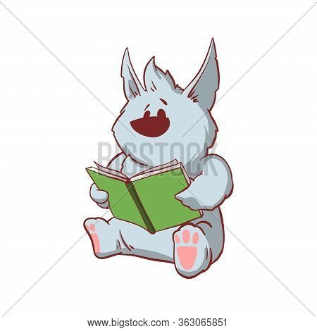Colorful Vector Illustration Of A Tiny Baby Werewolf, Reading A Book