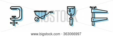 Set Line Putty Knife, Clamp And Screw Tool, Wheelbarrow And Clamp Tool Icon. Vector
