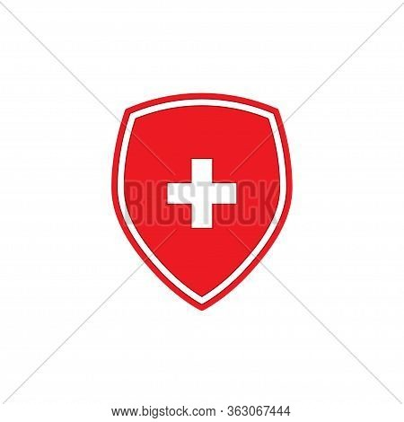 Red Shield With White Cross Icon Isolated On White Background. Vector Illustration