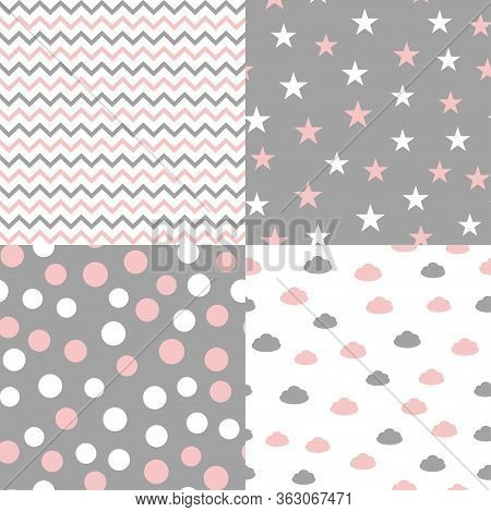 Set Of Seamless Patterns In Pastel Colors For Baby Design. Vector Illustration