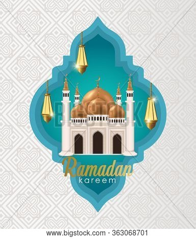 Islamic Background, Lantern On A Black Background With A Marble Circle As Decoration. Ramadan Kareem