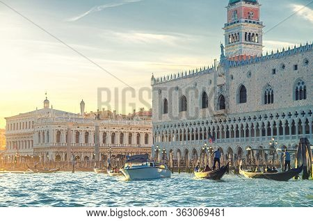 Venice Cityscape With Gondolas And Yacht Boats On Water Of San Marco Basin, Riva Degli Schiavoni Wat
