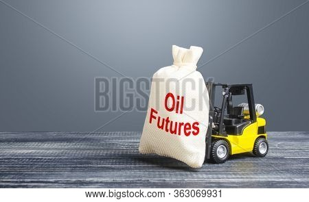A Forklift Carries A Bag With Oil Futures. Trade And Transportation Of Oil. Lack Of Storage Space An