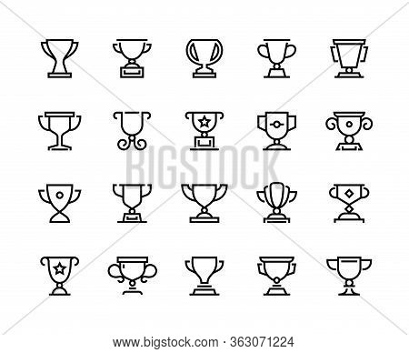 Trophy Cup Line Icons. Competition Prize And Sport Team Awards, Winner Reward And Competition Award