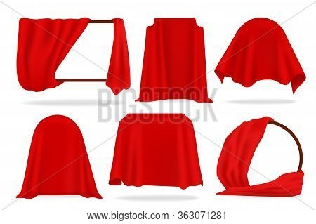 Red Silk Cover. 3d Opened Curtains, Realistic Covered With Red Cloth Objects, Napkins And Tablecloth