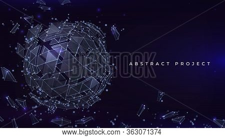 Sphere Particles Background. Futuristic Banner With Abstract Geometric Shape Of Connected Lines. Vec