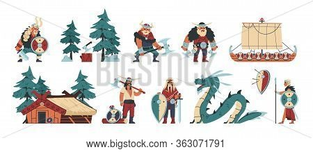 Vikings. Cartoon Barbarian Characters With Steel And Leather Weapon And Armor, Scandinavian Funny Il