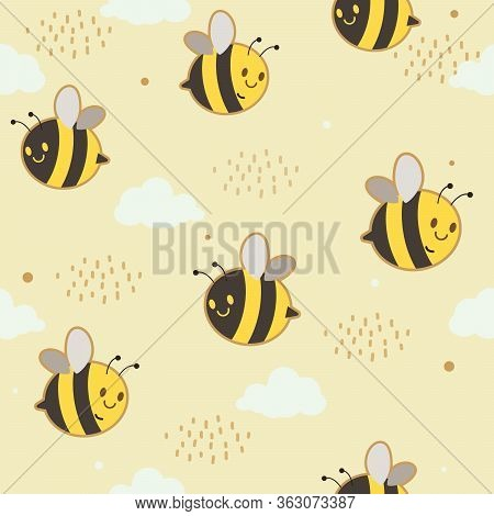 The Seamless Pattern Of Cute Bee With Cloud And Dot On The Yellow Background. The Character Of Cute