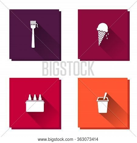 Set Of Vector Icon Food Yogurt, Beer, Spaghetti And Ice Cream. Layers Grouped For Easy Editing Illus